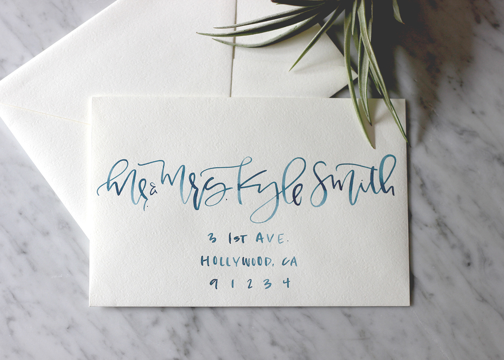 Ocean Blue Watercolor Addressing | A Fabulous Fete
