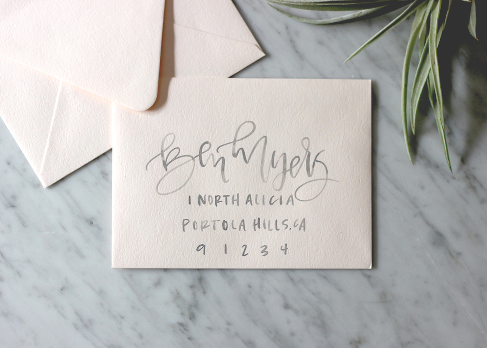 Grey Watercolor Lettering on Blush | A Fabulous Fete