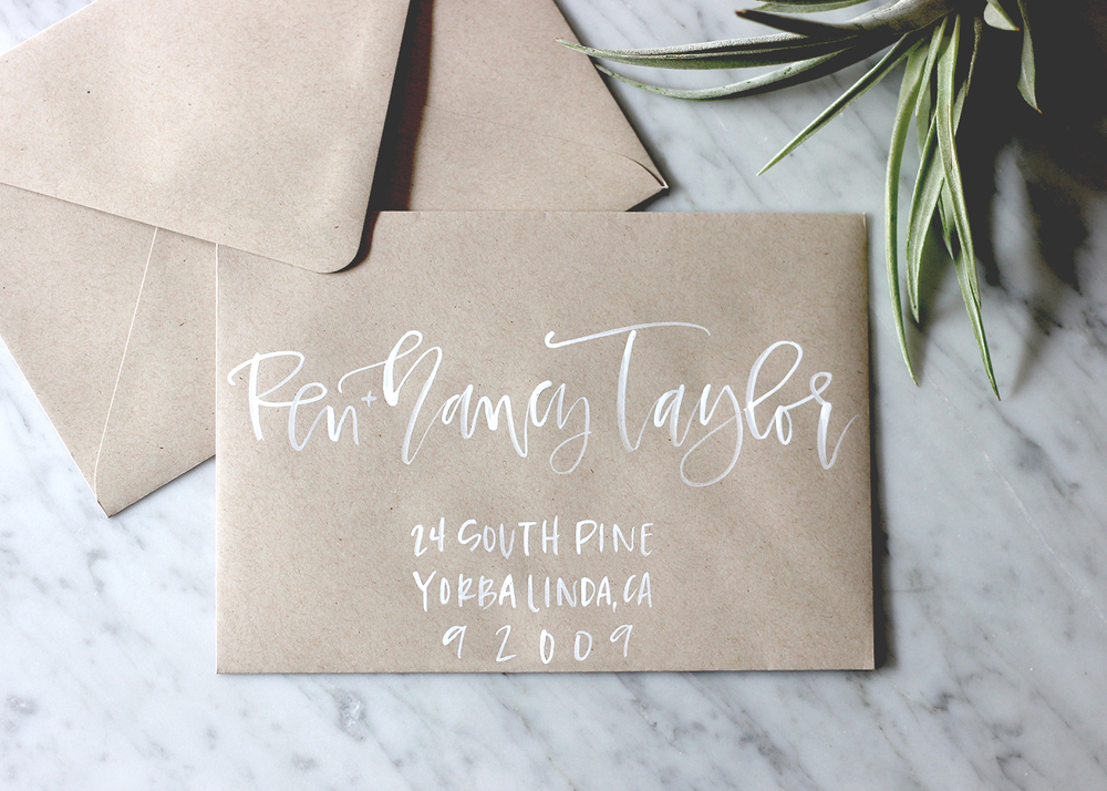 White Brush Lettering on Kraft | A Fabulous Fete
