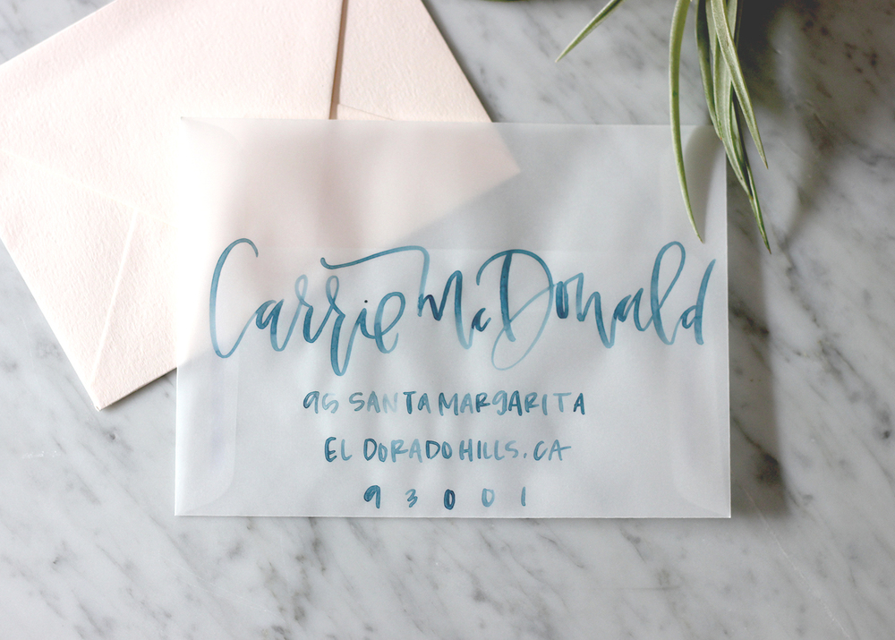 Blue Watercolor Lettering on Velum | A Fabulous Fete