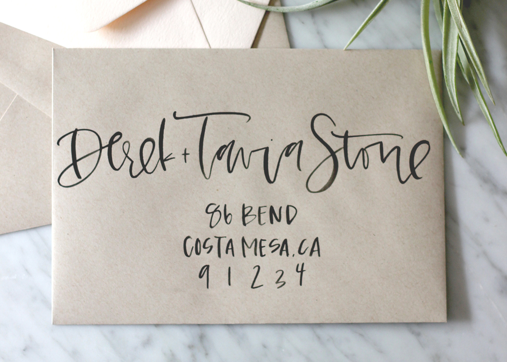 Black Brush Calligraphy on Kraft | A Fabulous Fete