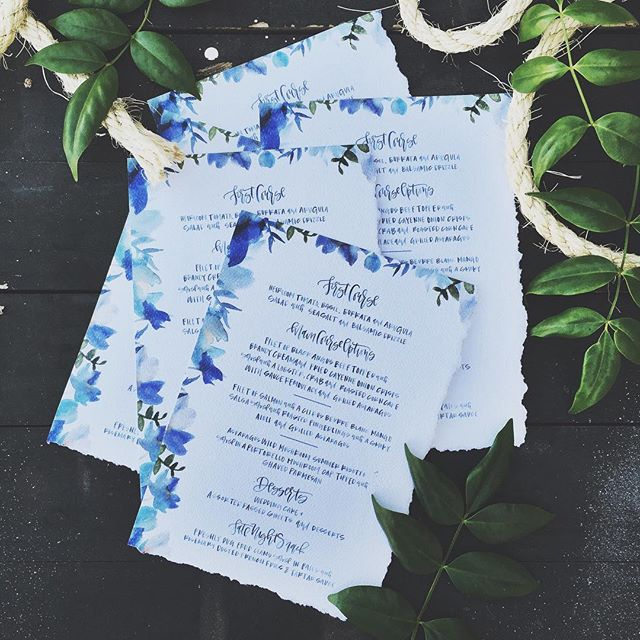 Blue Watercolor Floral Menus.jpg