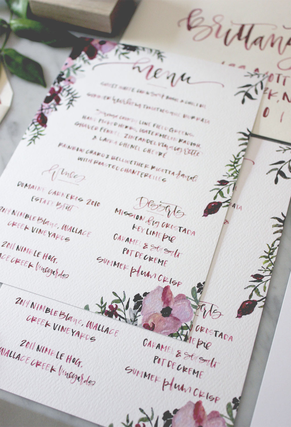 Wedding Dinner Menu | A Fabulous Fete