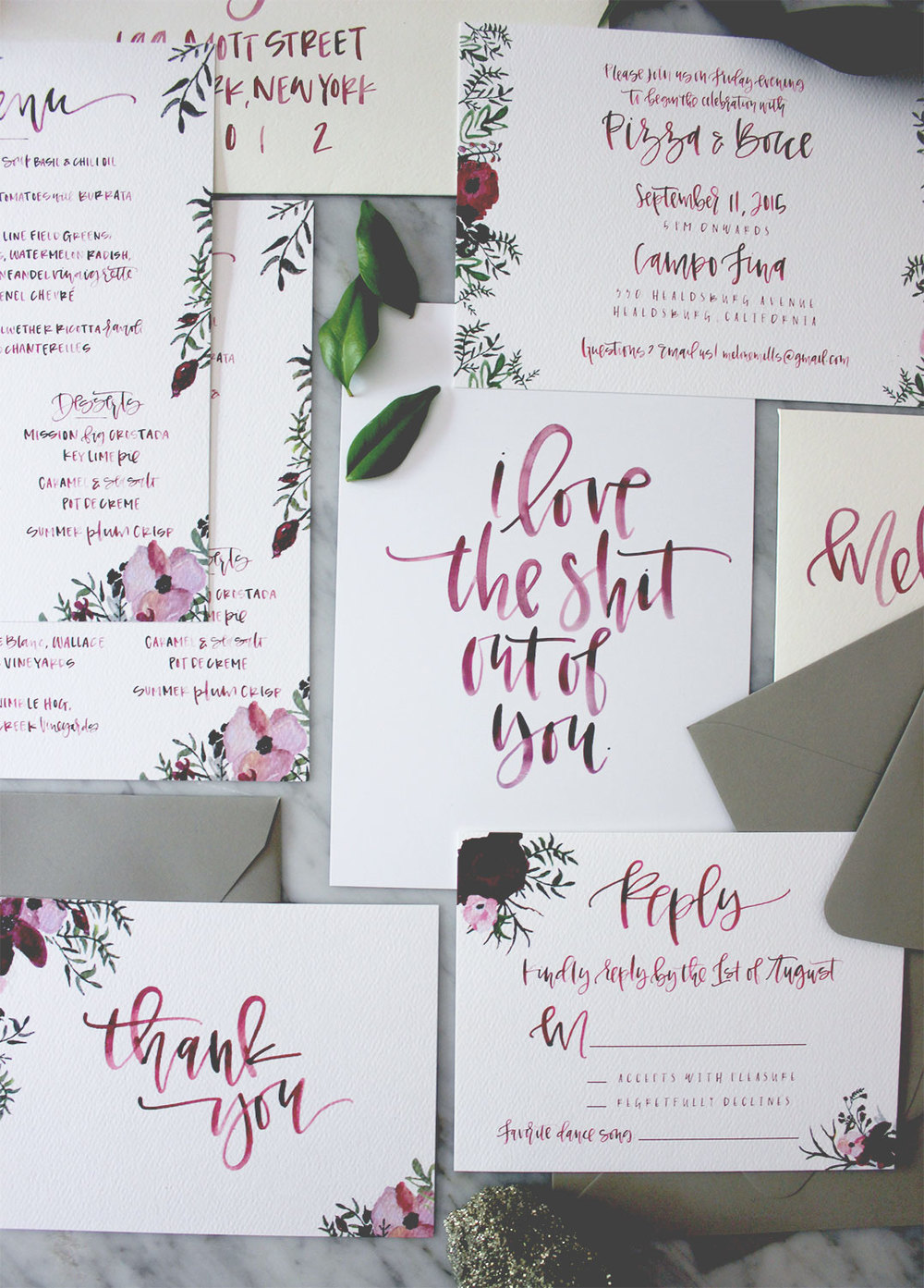 Burgundy Calligraphy Details | A Fabulous Fete