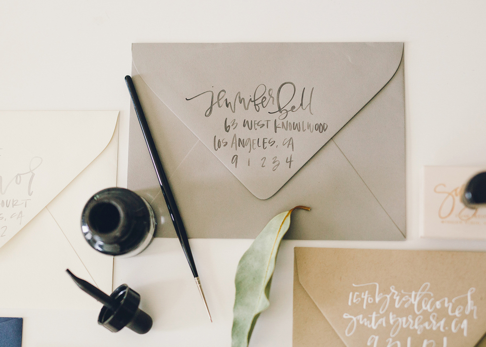 Watercolor Brush Lettering Return Address | A Fabulous Fete
