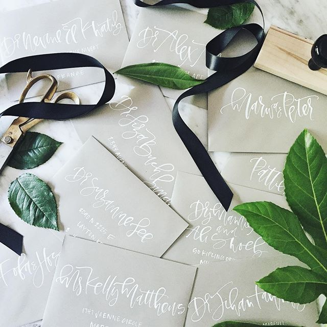 White Calligraphy Event Envelopes | A Fabulous Fete