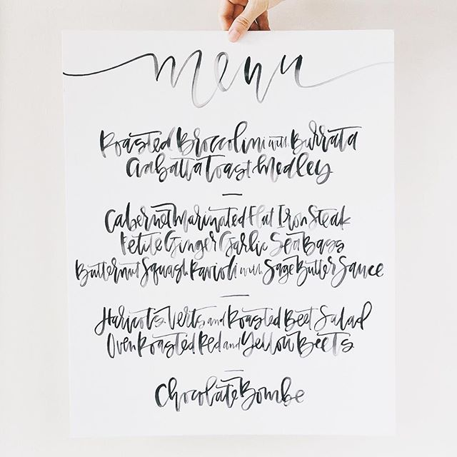 Black Watercolor Menu | A Fabulous Fete