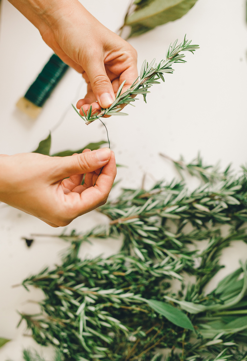 Creating garland with herbs for the holidays | A Fabulous Fete