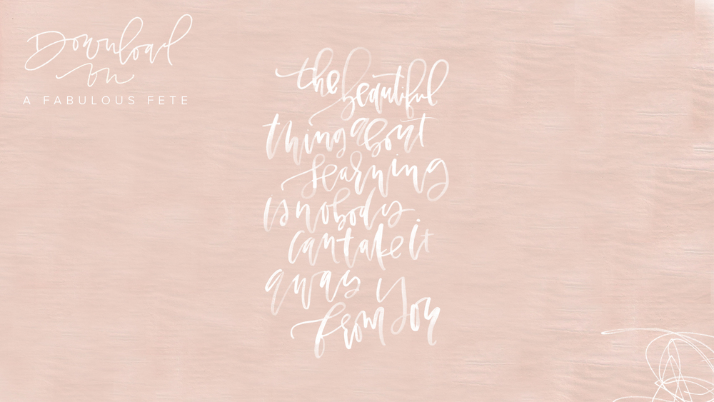 Free Hand Lettered Desktop Download | A Fabulous Fete