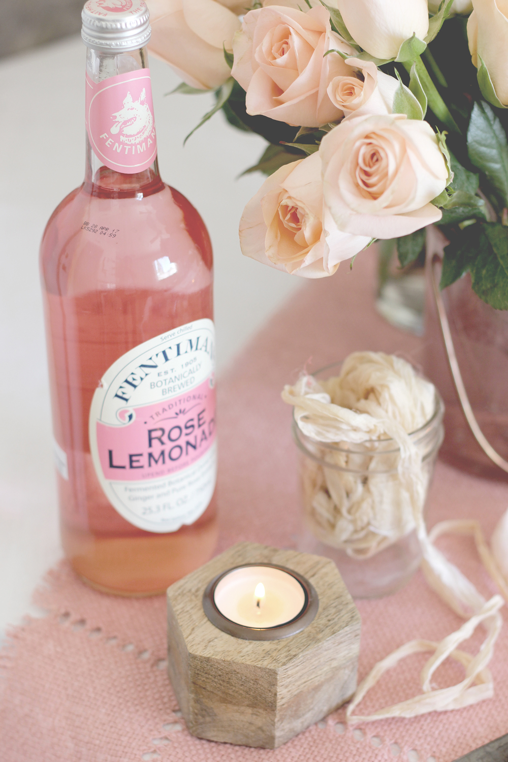 Pink lemonade, the perfect decor and mixer at your galentines day party | A Fabulous Fete