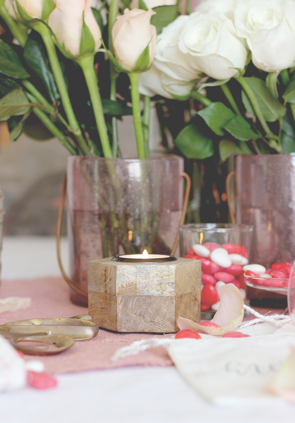 Wooden candle holders to tone down all the pink that comes with vday | A Fabulous Fete