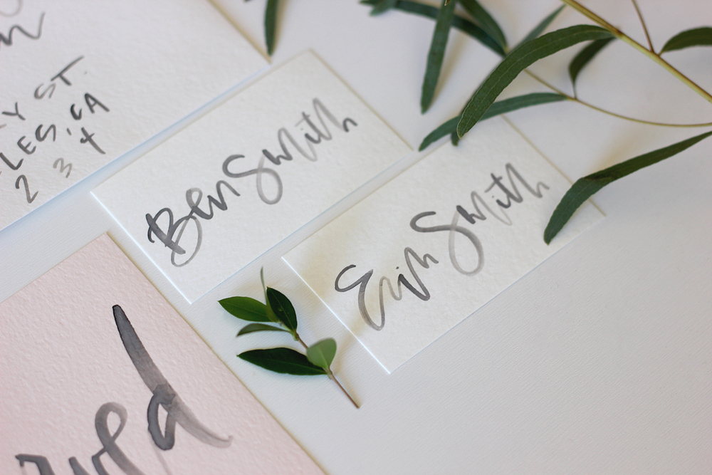 Watercolor Calligraphy Wedding Namecards | A Fabulous Fete