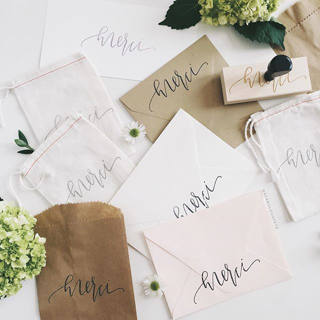 Calligraphy merci stamps | A Fabulous Fete