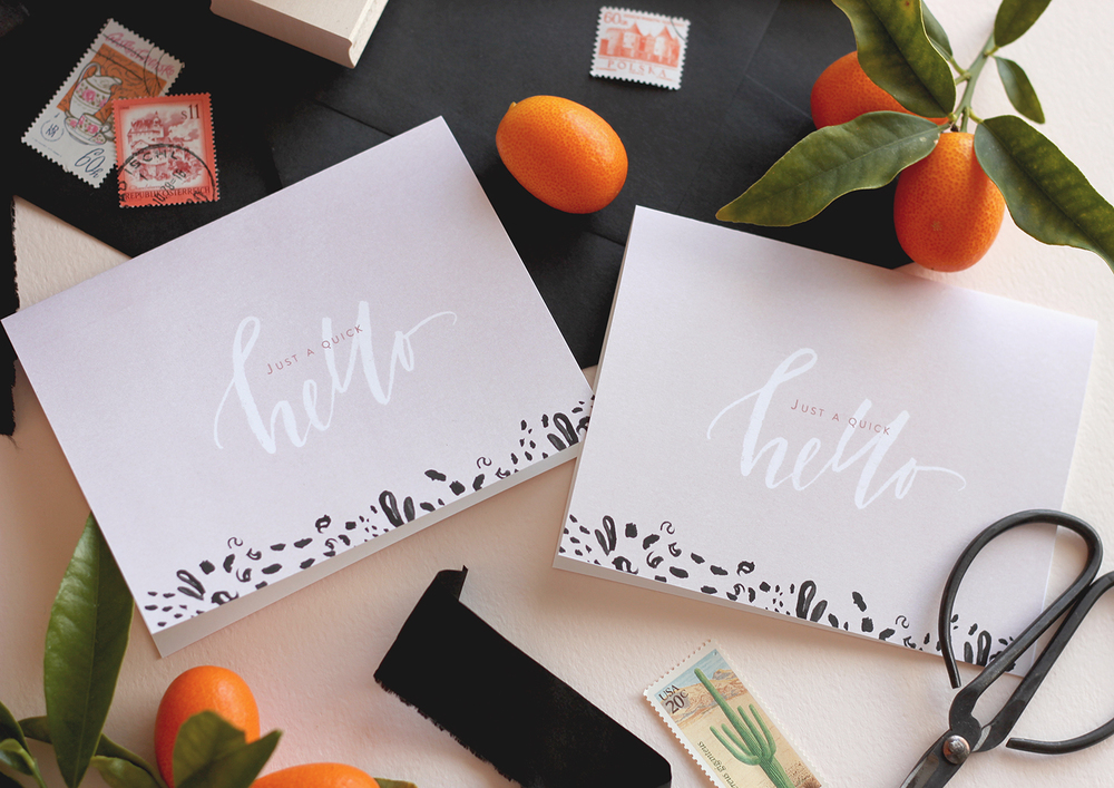 A quick hello hand lettered cards, free printable! | A Fabulous Fete