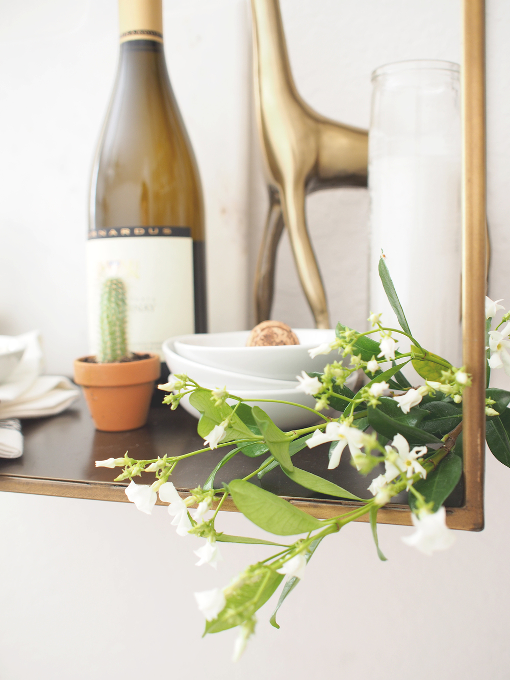 Add small branches of jasmine for instant color in your entertaining area | A Fabulous Fete