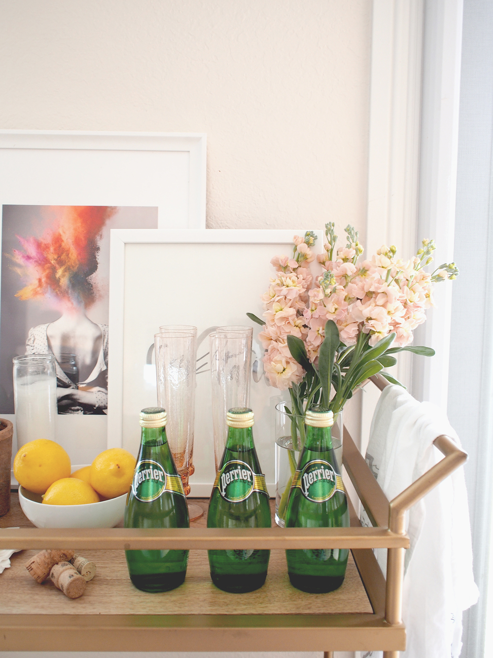 An easy way to decorate your bar cart, with art! | A Fabulous Fete