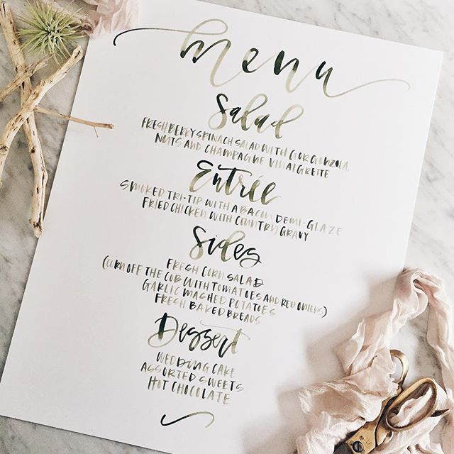 Custom watercolor menu for a wedding | A Fabulous Fete