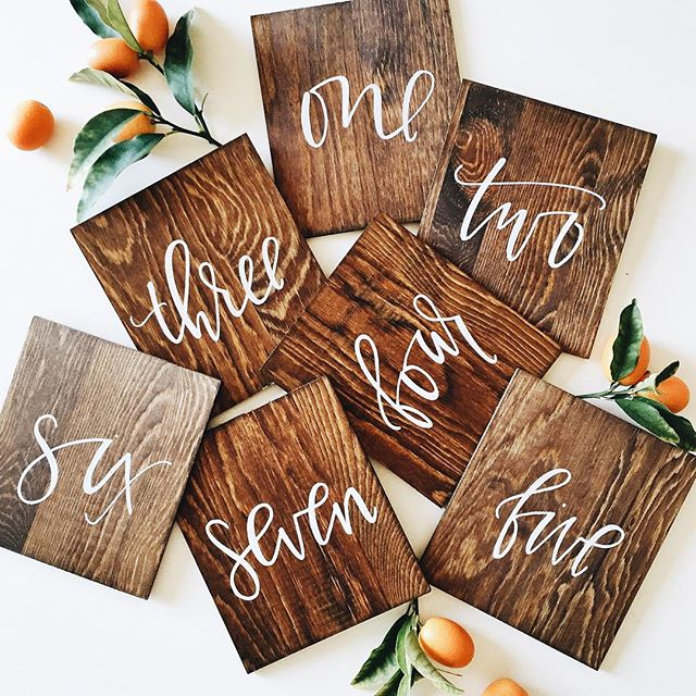 Custom wood hand lettered table numbers | A Fabulous Fete