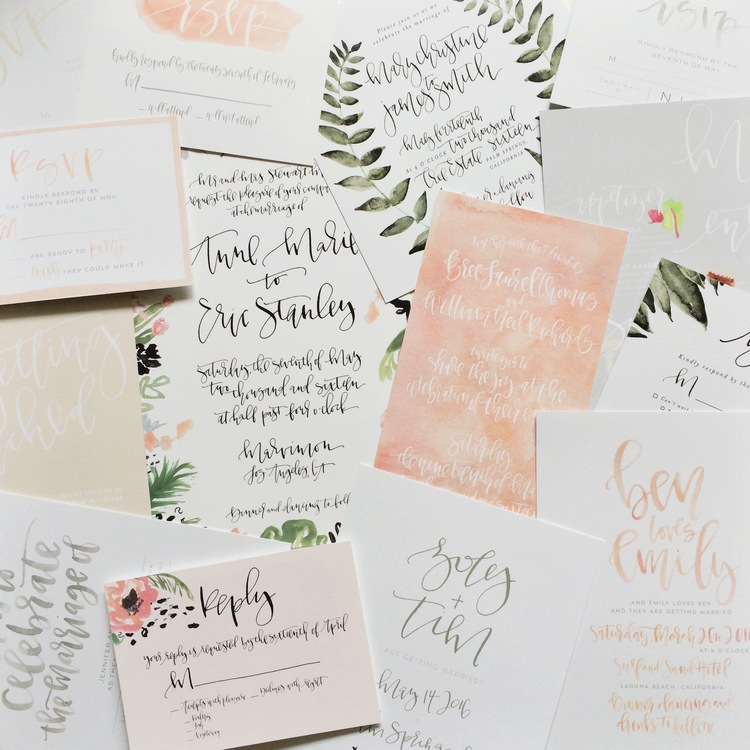 Custom Hand Lettered Wedding Invitations