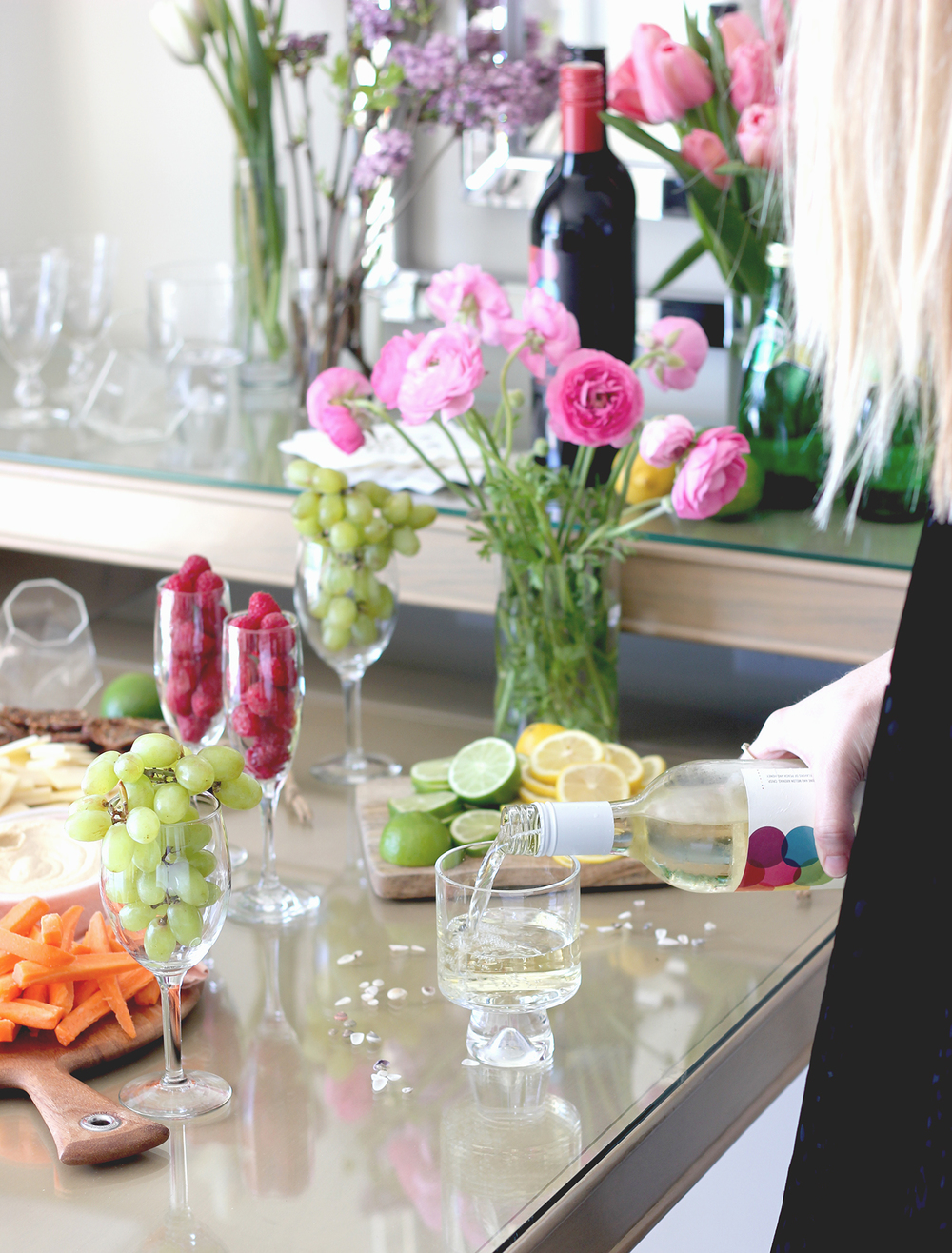 Spa day spread - veggies + fruit... and wine! | A Fabulous Fete