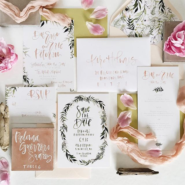 Custom watercolor calligraphy botanical wedding invitation suite | A Fabulous Fete