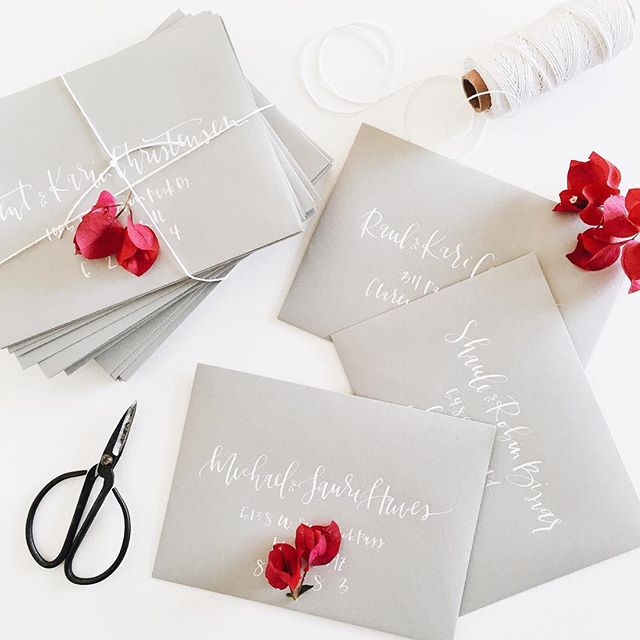 White envelope addressing on grey | A Fabulous Fete