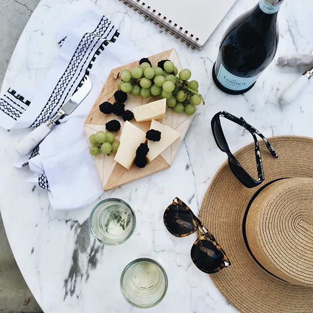 Wine and cheese on our patio at the ace, palm springs | A Fabulous Fete