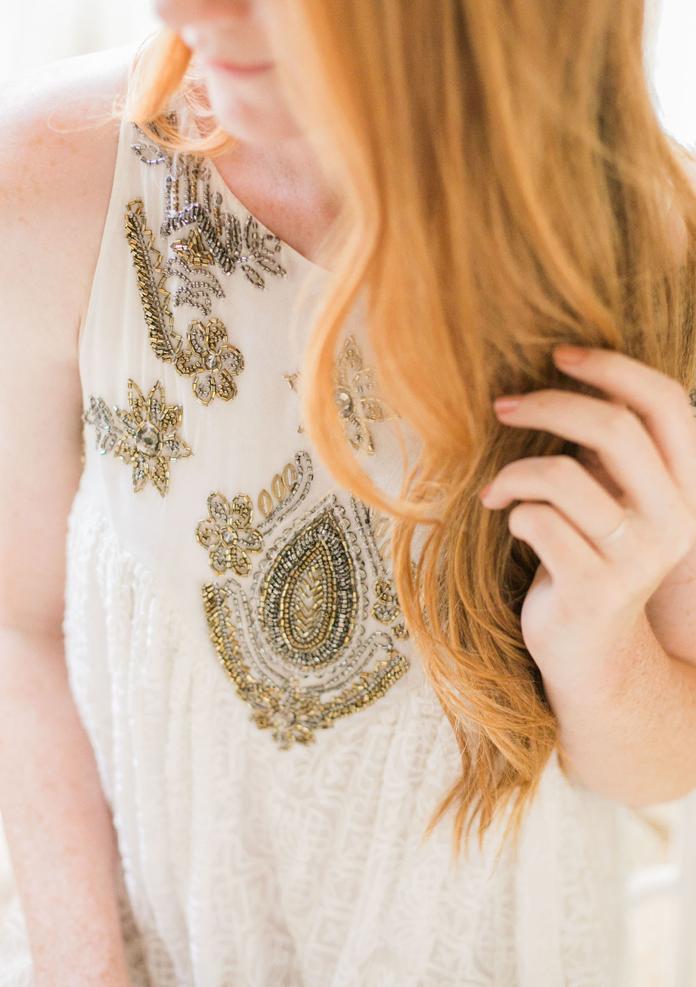 Beaded BHLDN dress for an easy rehearsal dinner look | A Fabulous Fete
