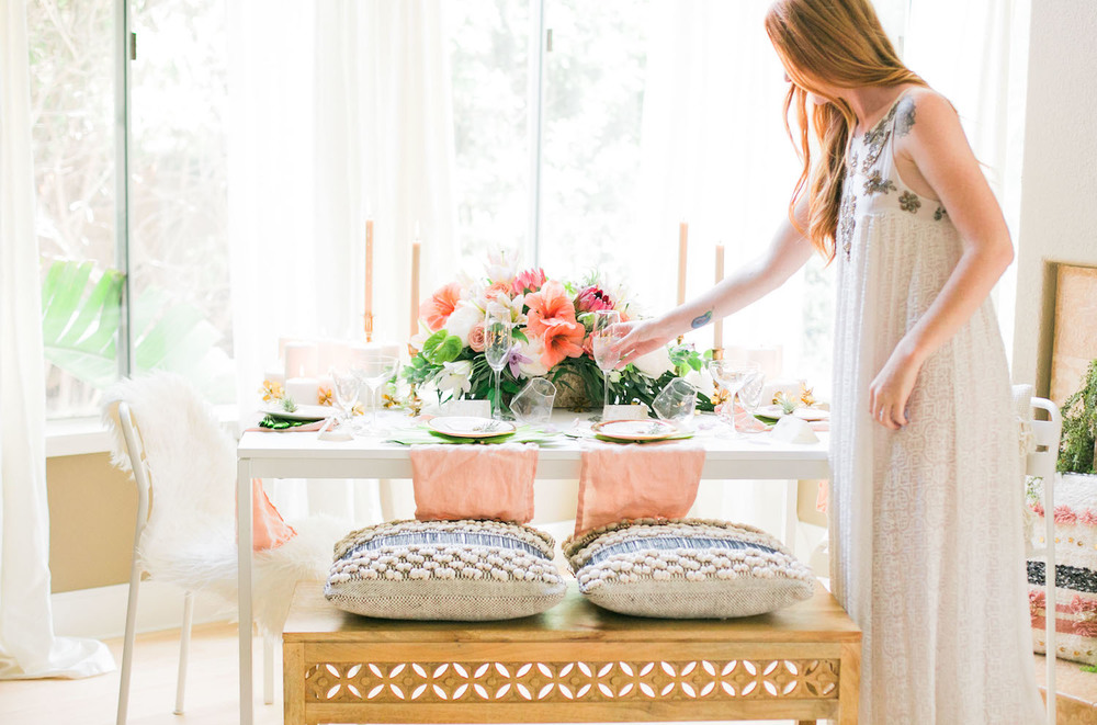 Embellished breezy dresses are perfect for a simple rehearsal dinner at home | A Fabulous Fete