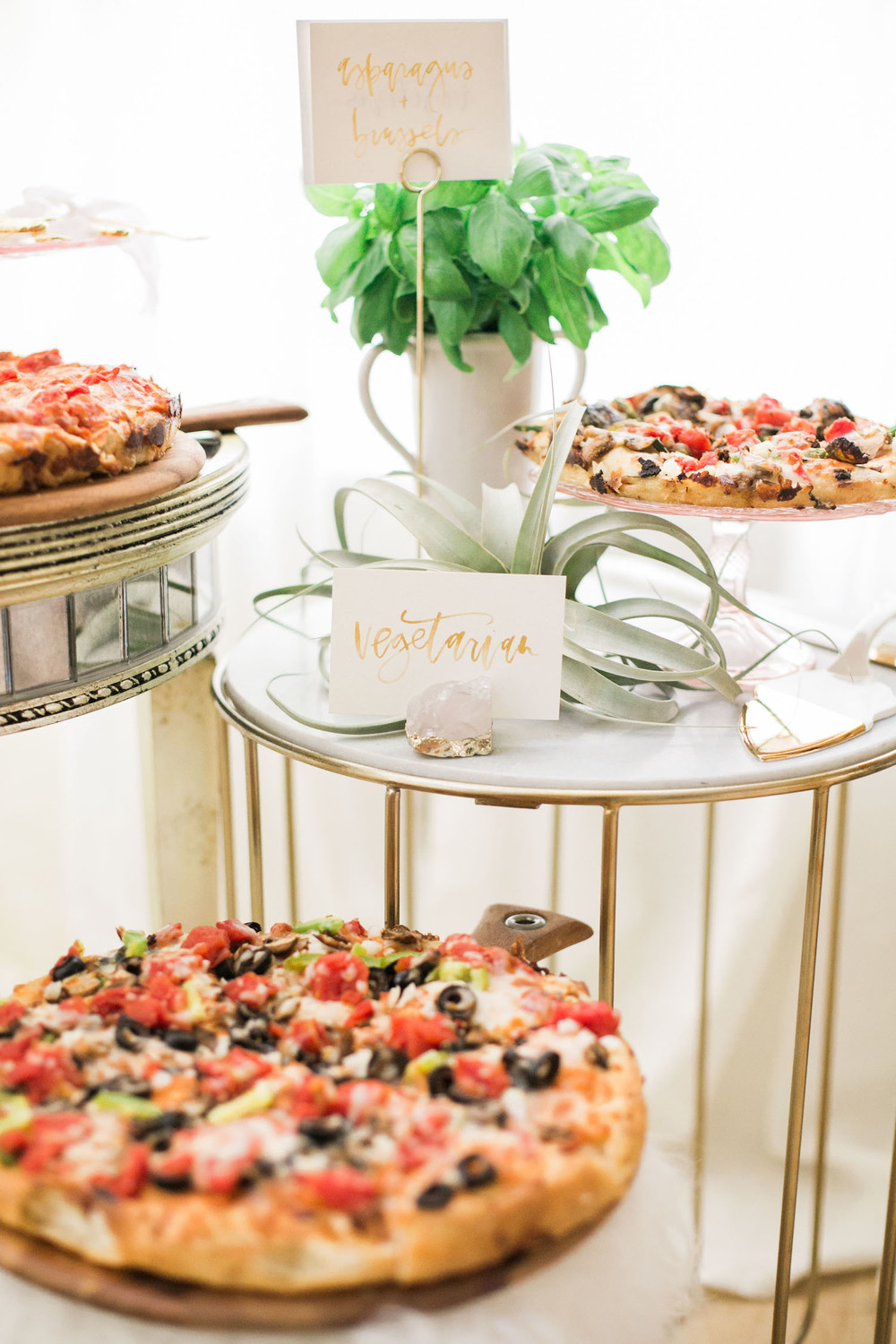 Pick up pizza for an easy dinner but add amazing details like cake stands and beautiful serving pieces for a special occasion | A Fabulous Fete