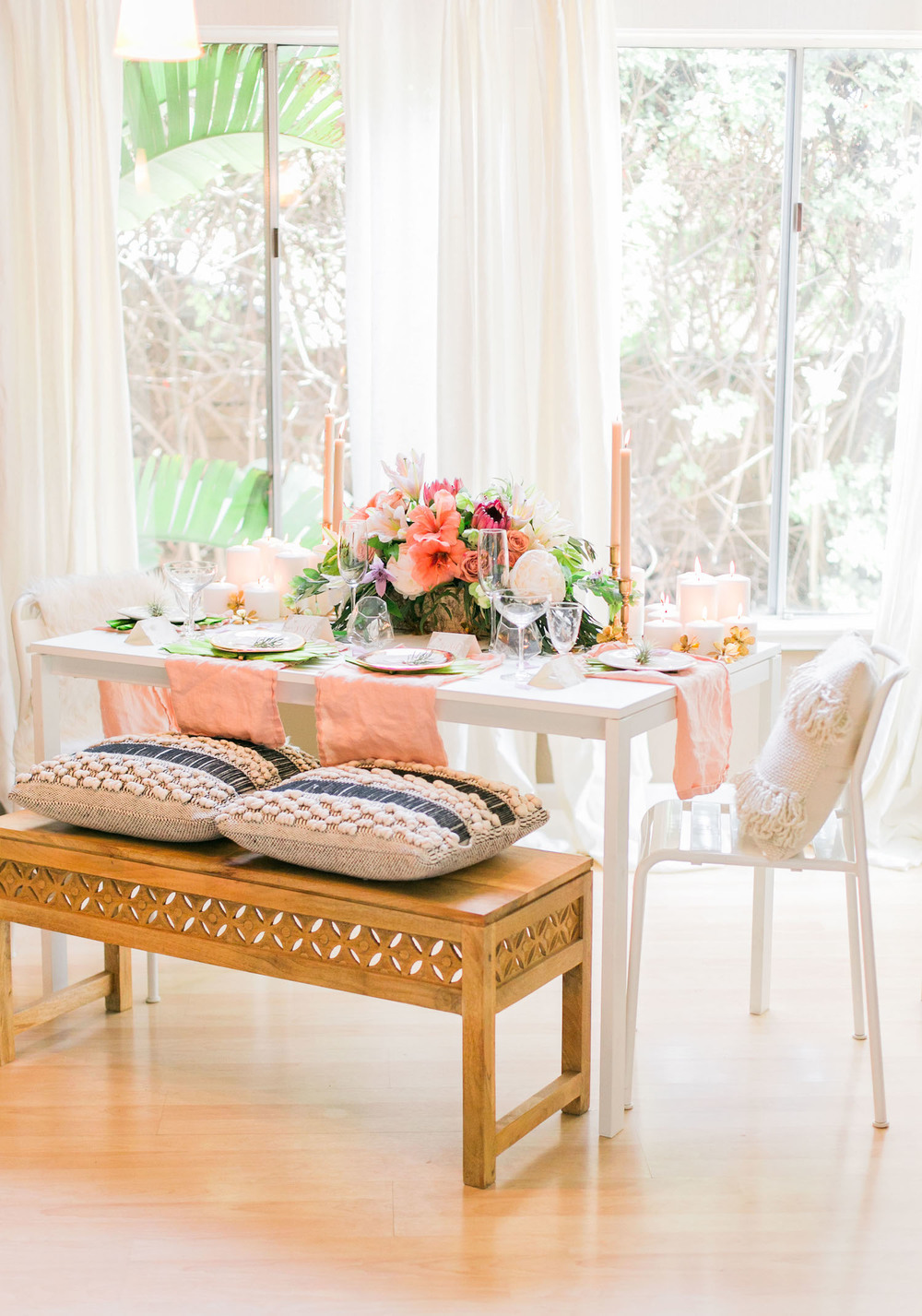 Pull together mismatched furniture with a simple color scheme | A Fabulous Fete