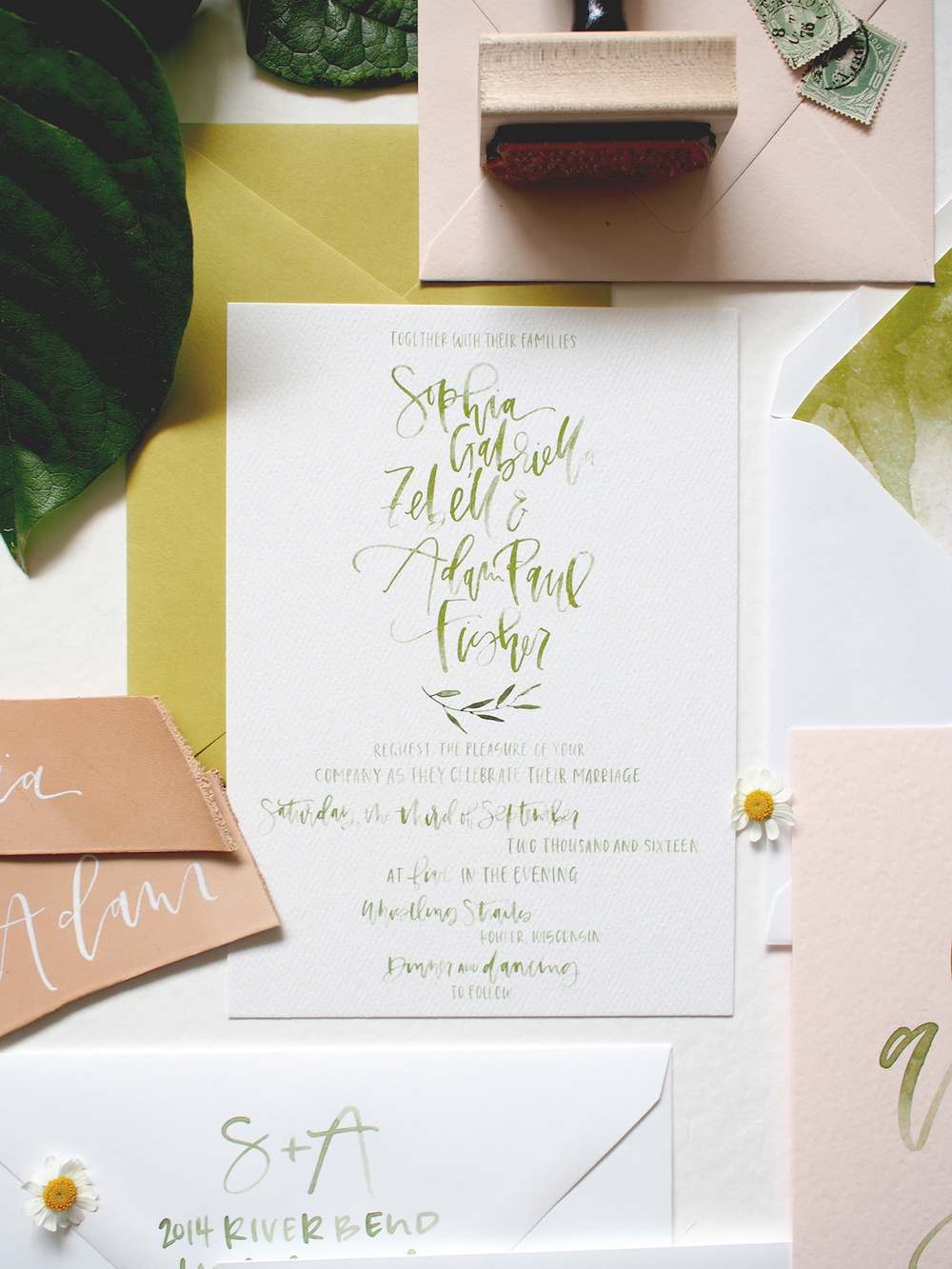 Sophia + Adam\'s Simple Green Watercolor Wedding Suite — A Fabulous Fete