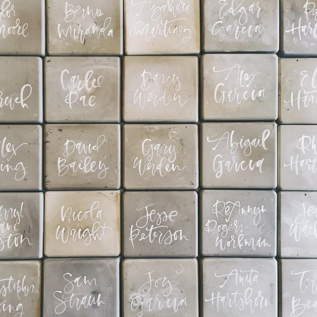 Cement place cards with calligraphy | A Fabulous Fete