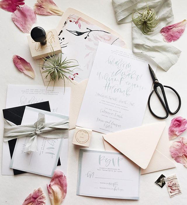 Mint wedding invitation suite paired with blush envelopes | A Fabulous Fete