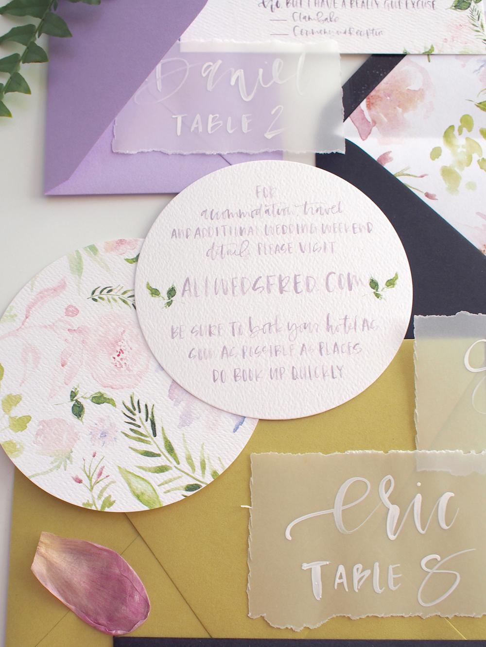 round watercolor rsvp cards, custom | A Fabulous Fete
