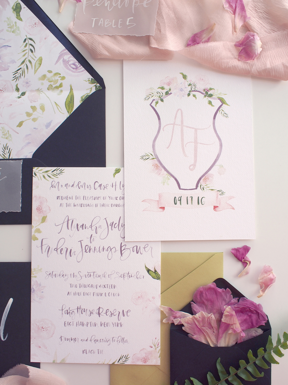 hand lettered calligraphy wedding invitation suite | A Fabulous Fete
