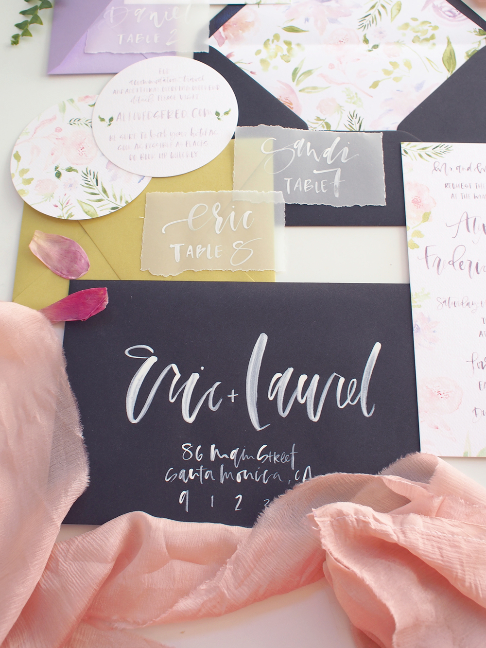 summer inspired wedding invitation and rsvp | A Fabulous Fete