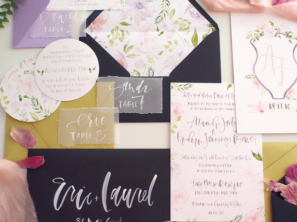 full invitation wedding suite with hand lettering | A Fabulous Fete