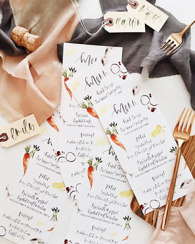 Custom Calligraphy + Illustrations Menu | A Fabulous Fete