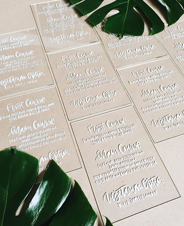 Brush Calligraphy Glass Menus | A Fabulous Fete