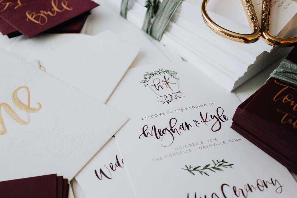 Day of wedding stationery in wine and gold | A Fabulous Fete