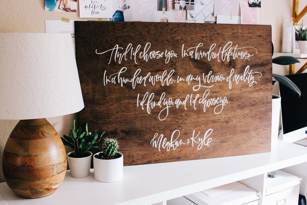 Custom wood calligraphy sign for wedding reception | A Fabulous Fete