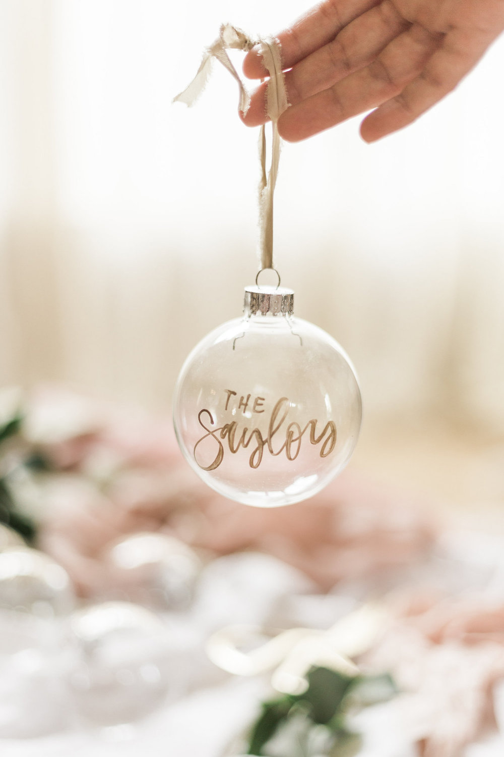 Glass hand lettered ornaments | A Fabulous Fete