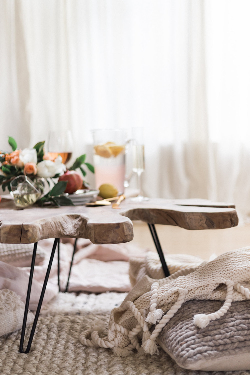 Wood table with cozy blankets for winter get togethers | A Fabulous Fete
