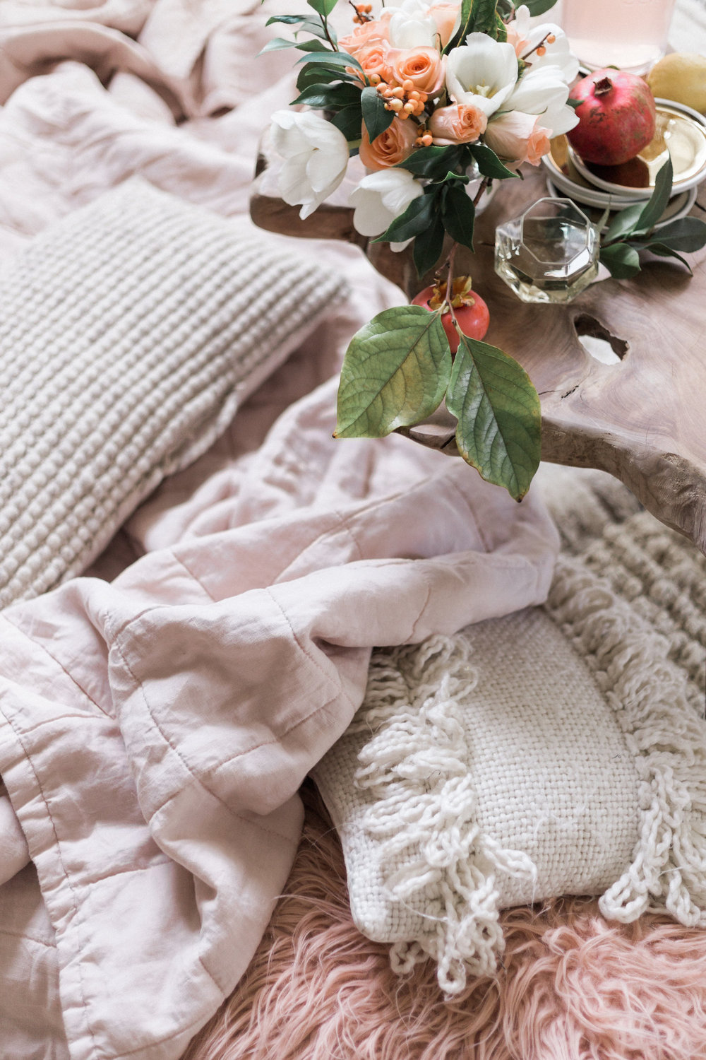 Piles of pillows and blankets for getting together around the coffee table | A Fabulous Fete