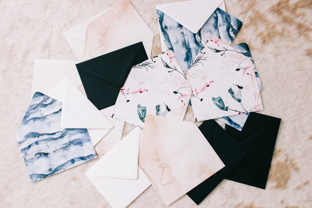 Hand painted envelope liners | A Fabulous Fete