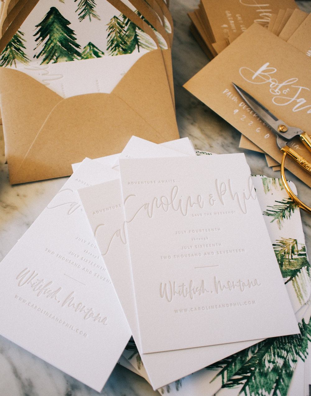 Watercolor and letterpress wedding suite | A Fabulous Fete