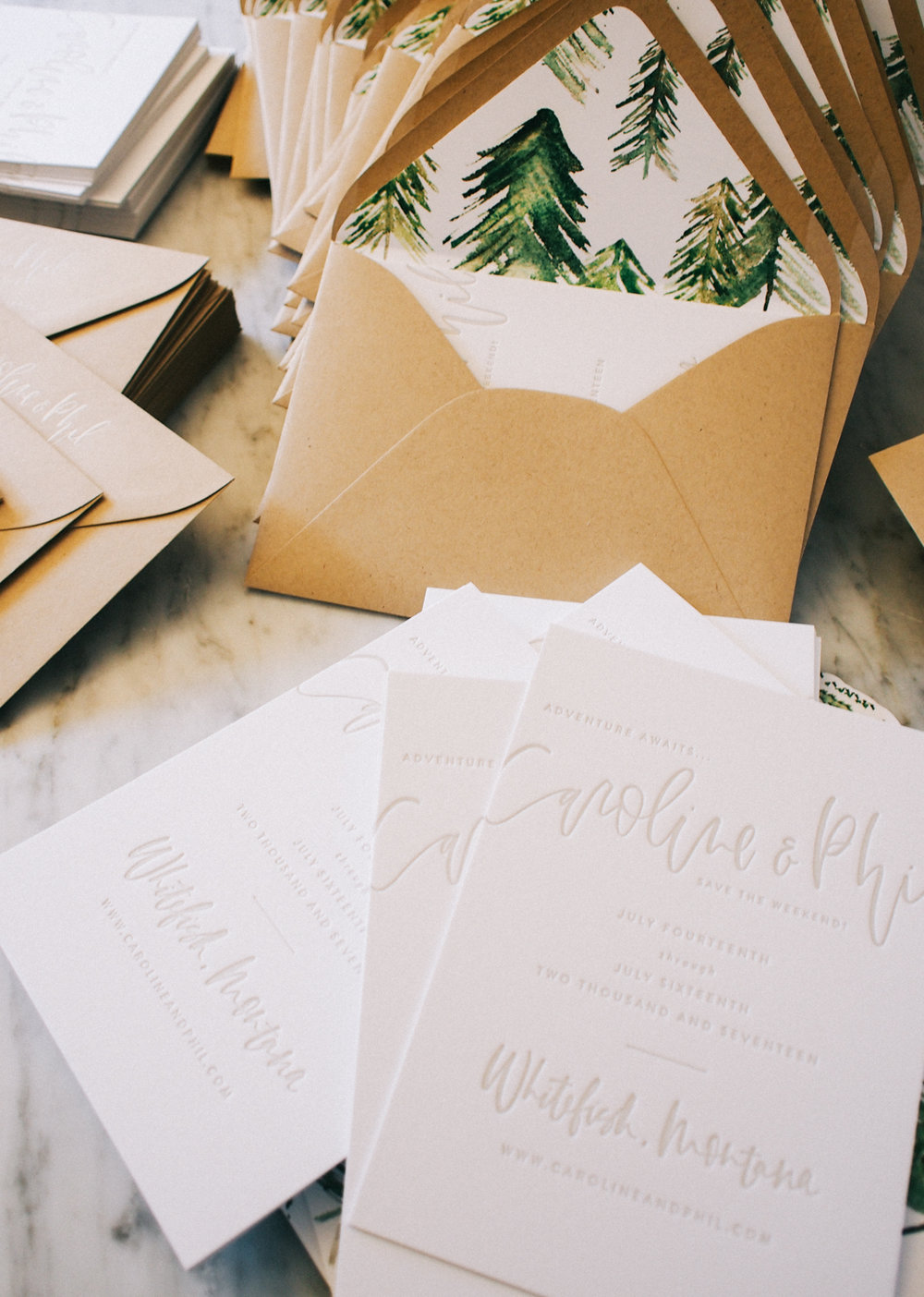 Letterpress wedding suite + hand painted envelope liners | A Fabulous Fete