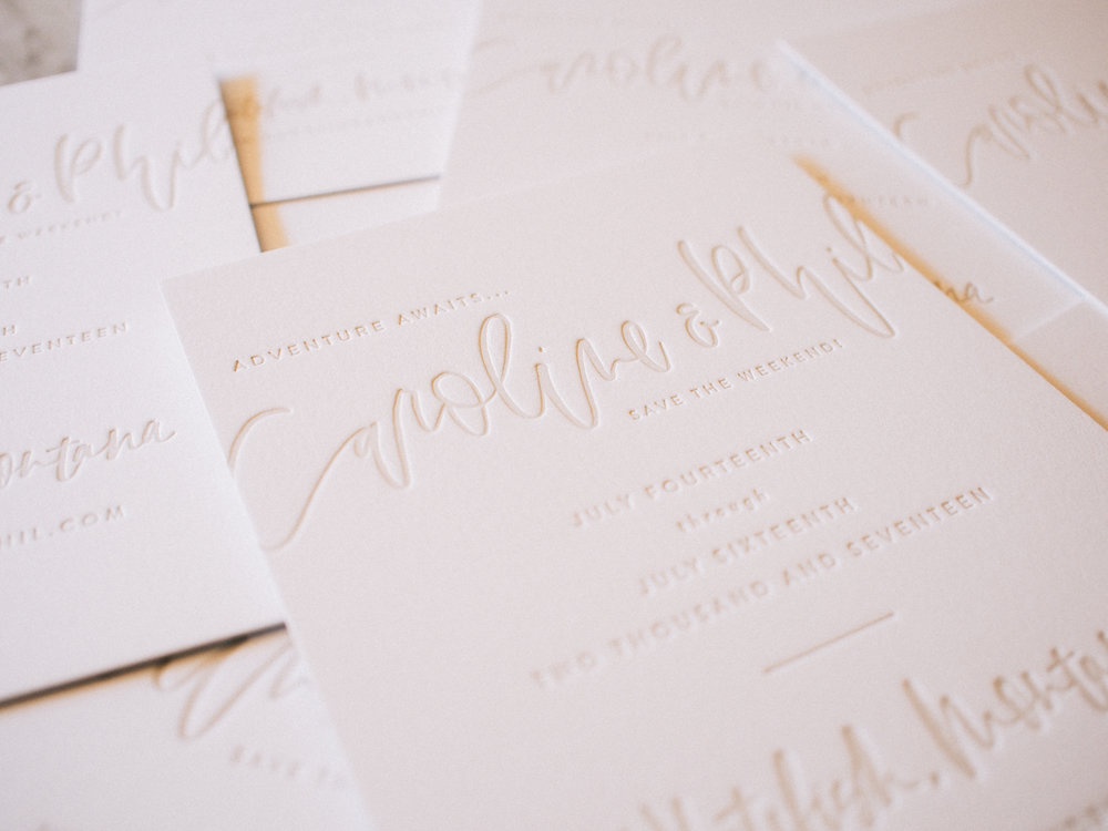 Save the dates with brush lettering and letterpress | A Fabulous Fete
