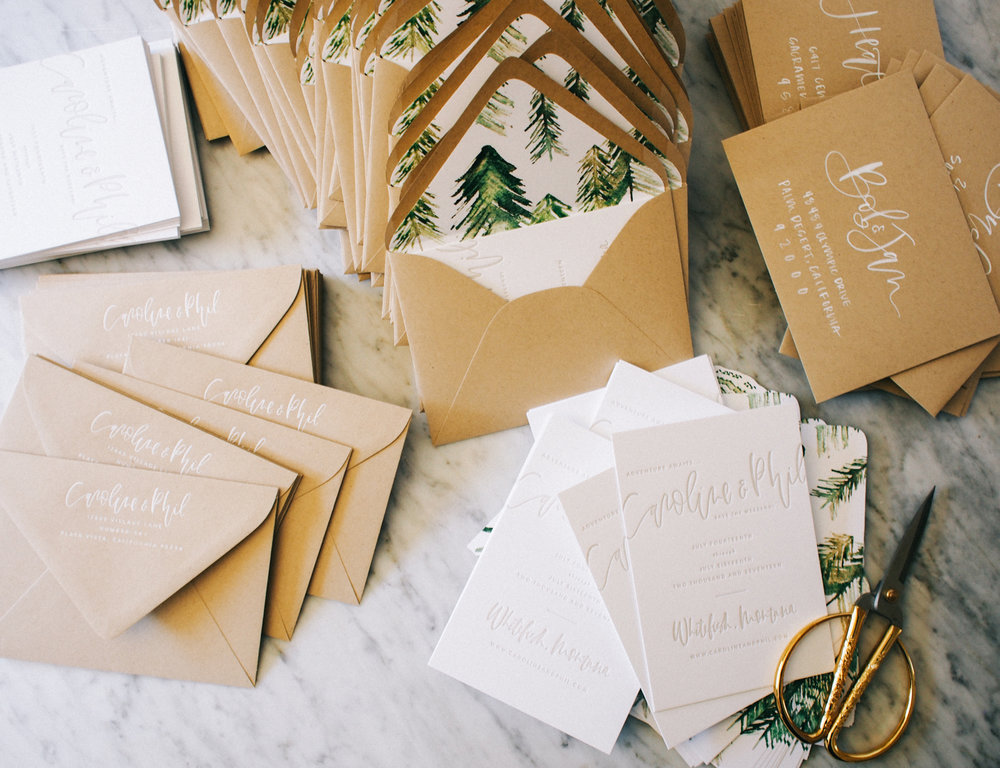 Taupe letterpress wedding suite | A Fabulous Fete